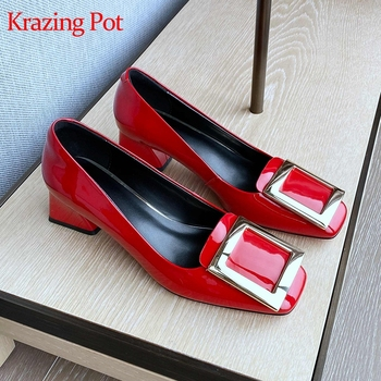 Krazing pot natural cow leather square toe gladiator brand med heels slip on office lady metal fastener spring shallow pumps L61
