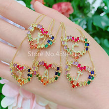 10Pcs, Women CZ Pendant Necklace,Fashion Jewelry, Letter Shape Design,Gold Color Plated, Please Note Which You Need