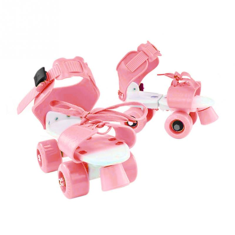 Girl Boy Four Wheel Wear Resistant Kids Gift Children Roller Fixed Skate Shoes Non Slip ABS Double Row Adjustable Outdoor