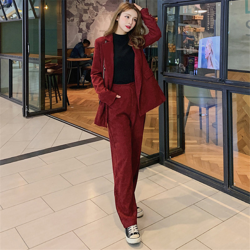Alien Kitty Hot Claret Retro Elegant 2020 Autumn Office Lady Blazers+Straight Pants Feminine Suits All Match Two Pieces Sets