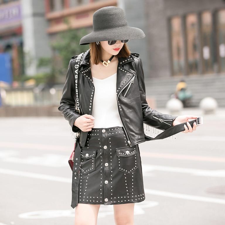 ZURICHOUSE 2020 Genuine Leather Jacket Women Short Fashion Diamond Tassel Rivet Natural Sheepskin Moto Biker Leather Coat Women