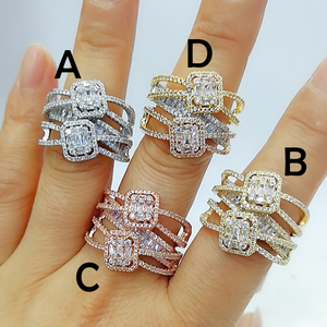 Image 2 - GODKI Baguette ตัดแหวน Handmade Rainbow CUBIC Zirconia แหวนแฟชั่น Finger อุปกรณ์เสริมงานแต่งงาน
