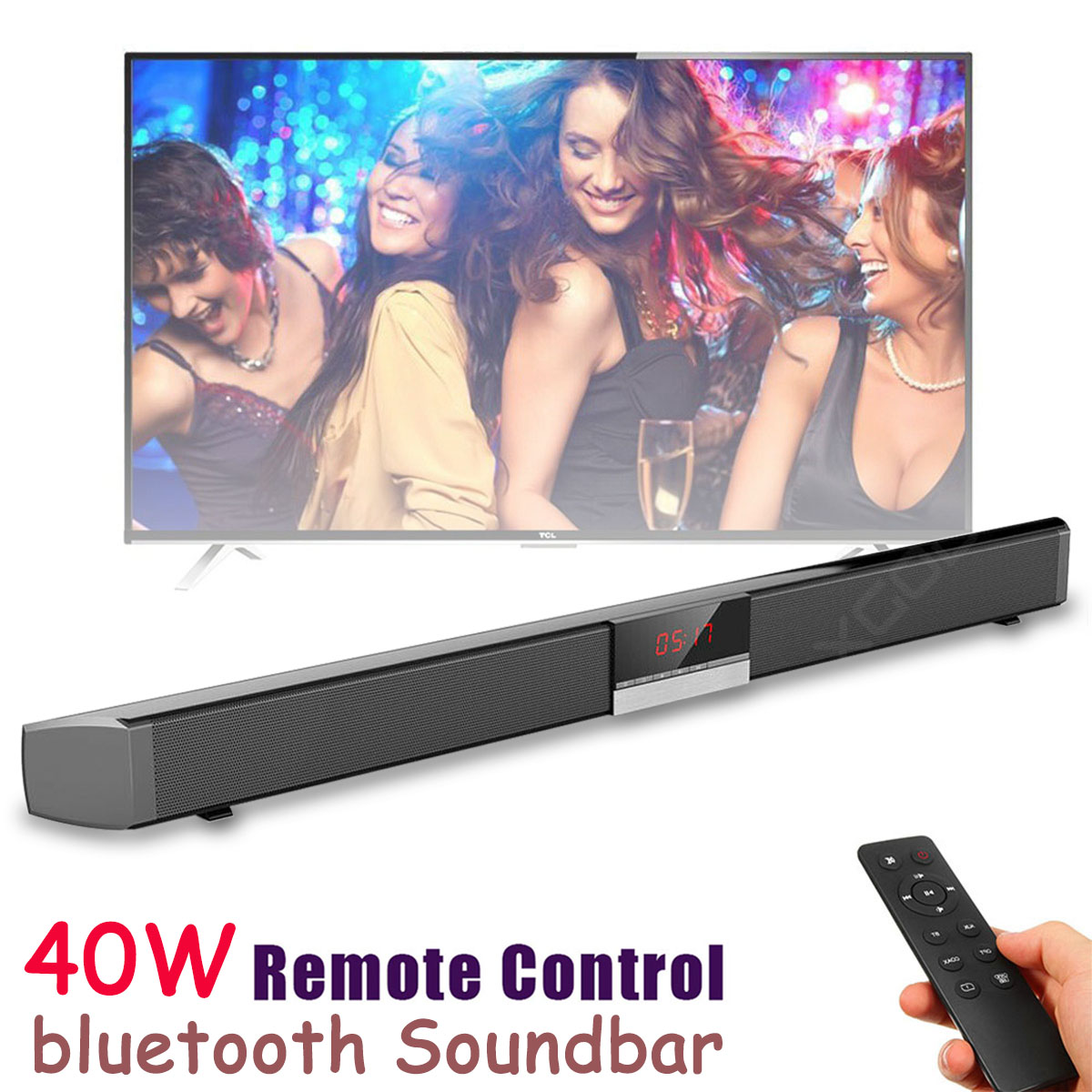 Sound Bar For Flat Screen TV Computer Home Theater Subwoofer 40W Wall Mountable