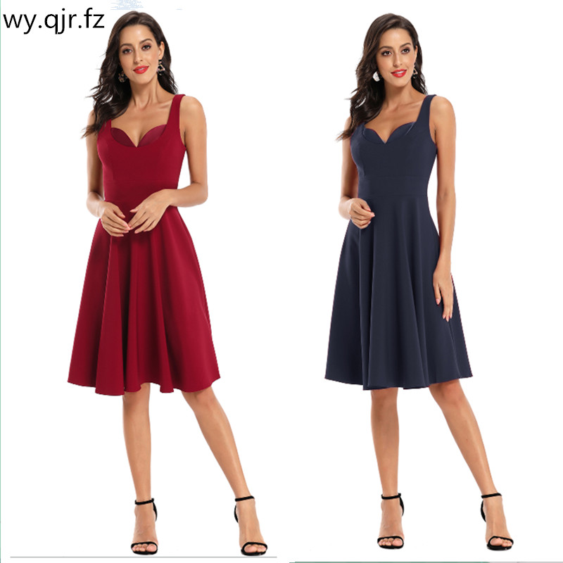 CD-1762#Short Bridesmaid Dresses Burgundy Dark Blue Satin Face Wedding Party Prom Dress Bride Toast Girls Wholesale Graduation