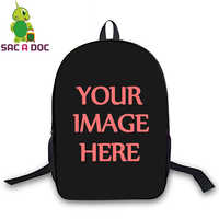 3d Printed Backpack Boys Girls School Bags for Teenager Students Can Customize Logo Image Shoulder Bags Travel Laptop Sac A Dos