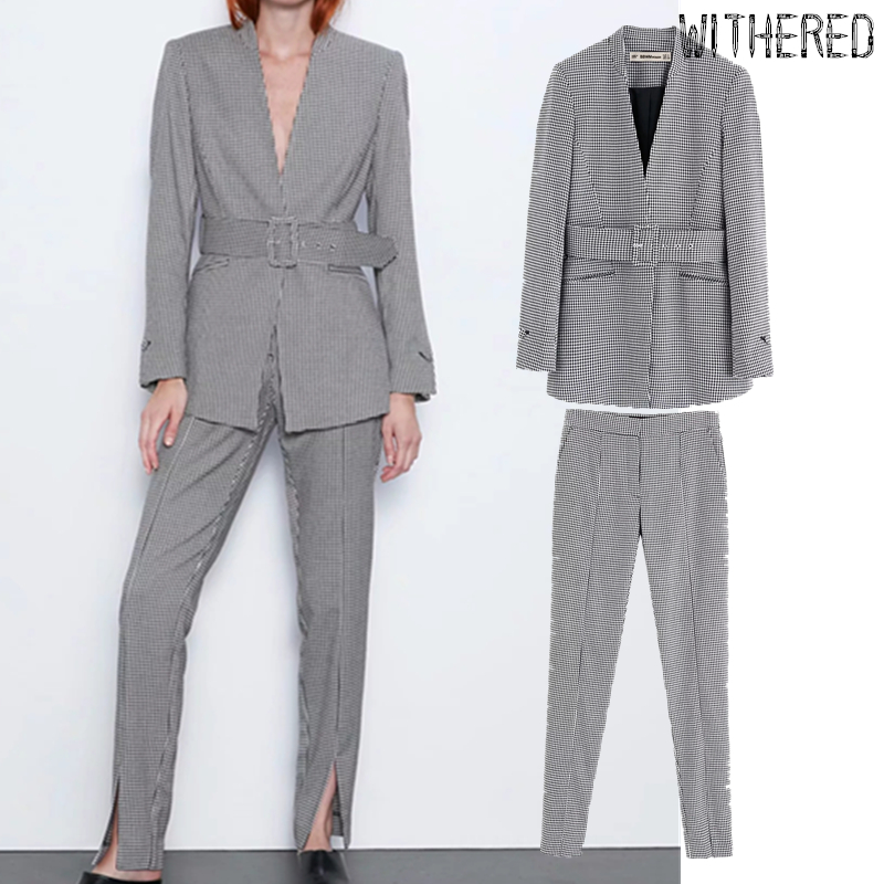Withered England Office Lady Simple Plaid Houndstooth Blazers Women Jackets And Fork Opening In Leg Suits Pants 2 Pieces Set