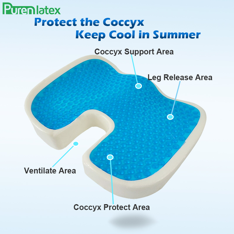 PurenLatex 46 36 U Shape Silicone Gel Cushion Memory Foam Pillow Coccyx Protect Slow Rebound Summer Cool Chair Cushion Seat Mat in Cushion from Home Garden