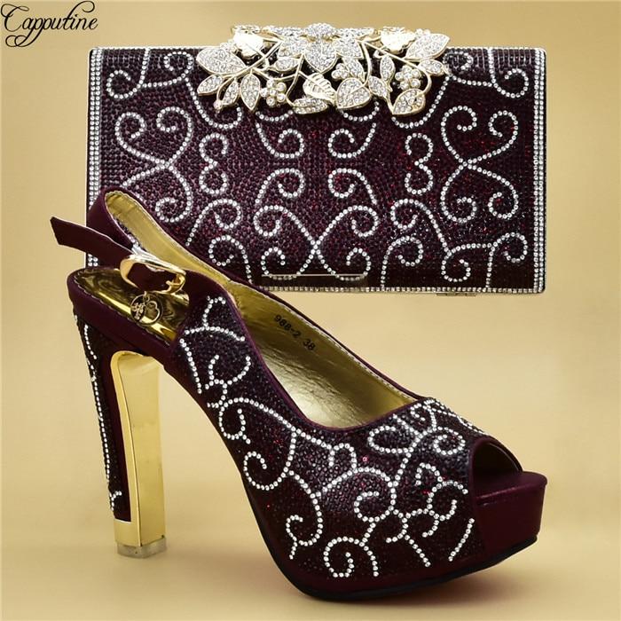 Incroyable vin soirée chaussures à talons hauts sandale avec sac à main sertie de strass 988-2, hauteur du talon 12cm