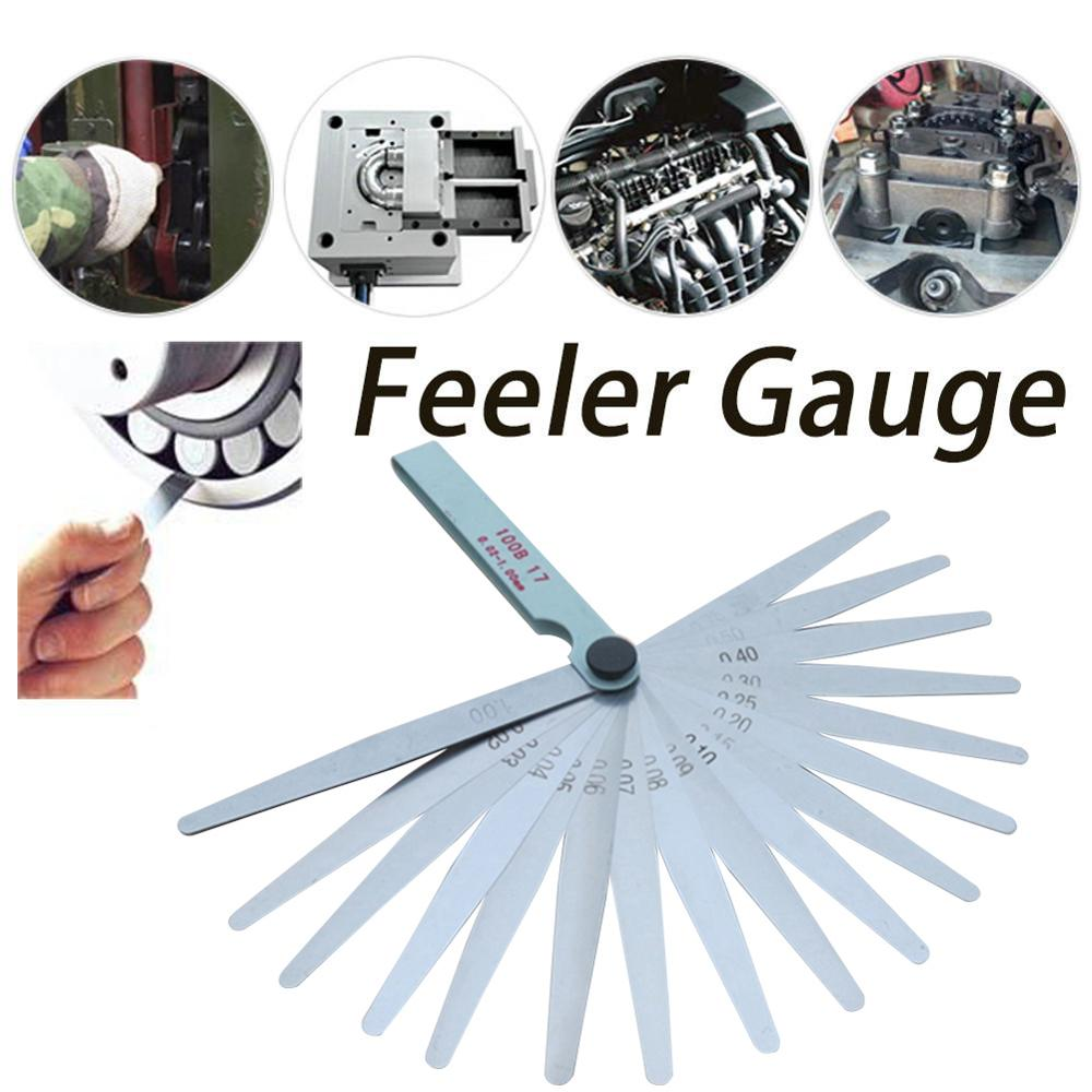17 Blades Feeler Gauge Metric Gap Filler 0.02-1.00mm Gage Measurment Tool For moto Engine Valve Adjustment motorcycle accessorie
