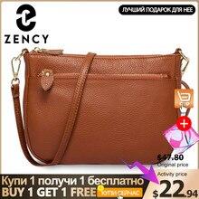 Borsa a tracolla da donna Zency Fashion 100% borsa in vera pelle marrone borsa piccola con patta borsa a tracolla semplice da donna Messenger