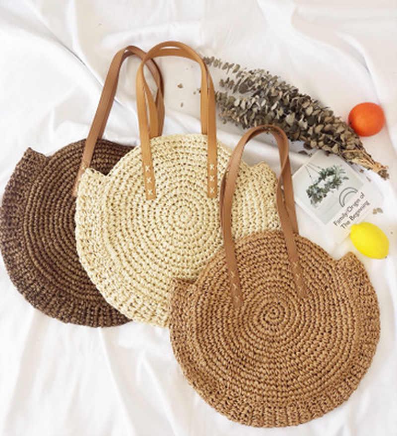 Bulat Jerami Pantai Tas Vintage Handmade Woven Bahu Tas Raffia Lingkaran Rotan Tas Bohemian Liburan Musim Panas Kasual Tas
