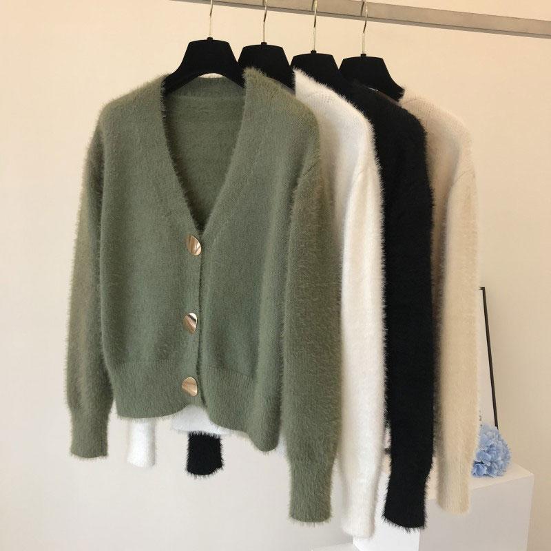 Golden Shiny Button Single Breasted Woolen Women Cardigans Sweater Casual Female Warm Elegant Autumn Winter Cardigan Outwear