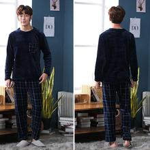 Pajama-Sets Homewear Long-Sleeve for Men in Velvet Q9X1 Lounge Flannel Warm Thick Hot-Coral