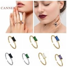 EINDOSER 925 Sterling Silber Ring Quadrat Schwarz/Blau/Grün/Lila/Weiß Diamant Öffnung Schmuck Einstellbare Frauen ring Bague Bijoux