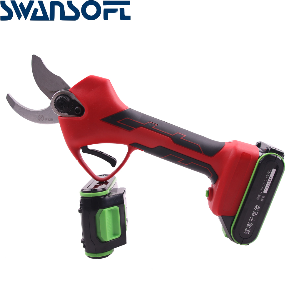 SWAVSOFT 21V Lithium Battery Professional 35mm Electric Pruning Scissors Charging Garden Bypass Pruning Shears