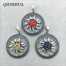 Wholesale Round Alloy Vintage Silver Pendant Bavarian Oktoberfest DIY Edelweiss Necklace Dirndl Accessories Jewelry