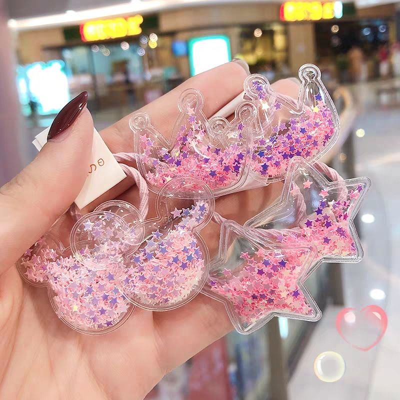 2Pcs/Set Fashion Fruit Quicksand Scrunchies Women Girls Kids Elastic Hair Rubber Bands Accessories Tie Hair Ring Rope Ponytailer