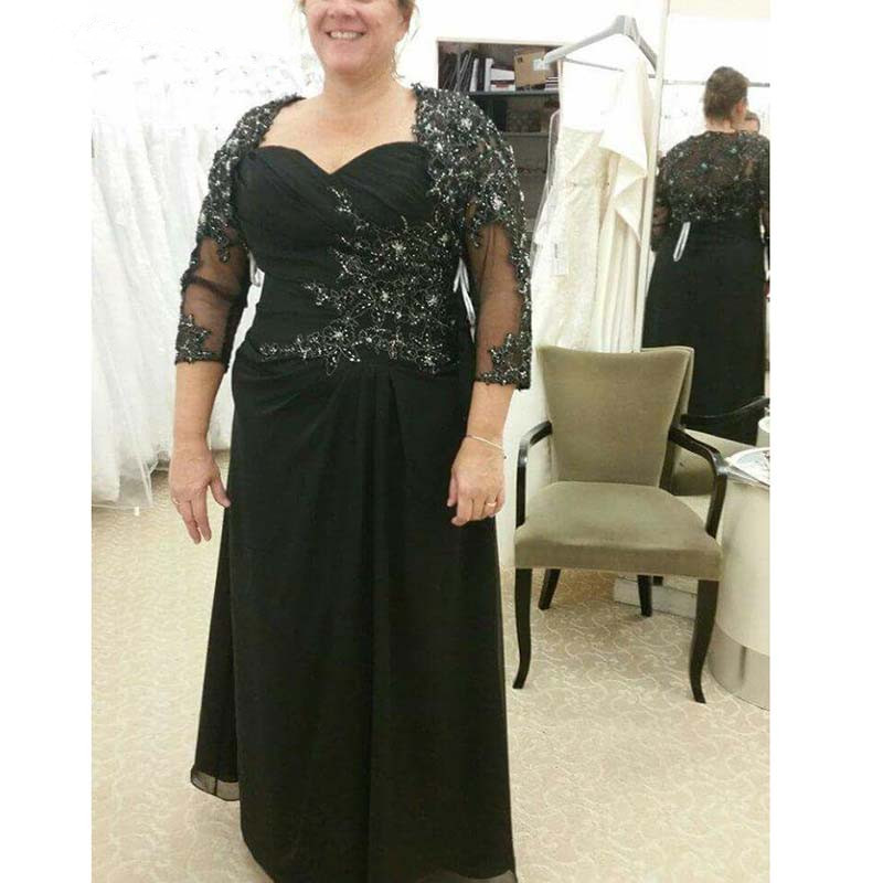 Black Mother Of The Bride Dresses A-line 3/4 Sleeves Chiffon Appliques Beaded Plus Size Groom Mother Dresses For Weddings
