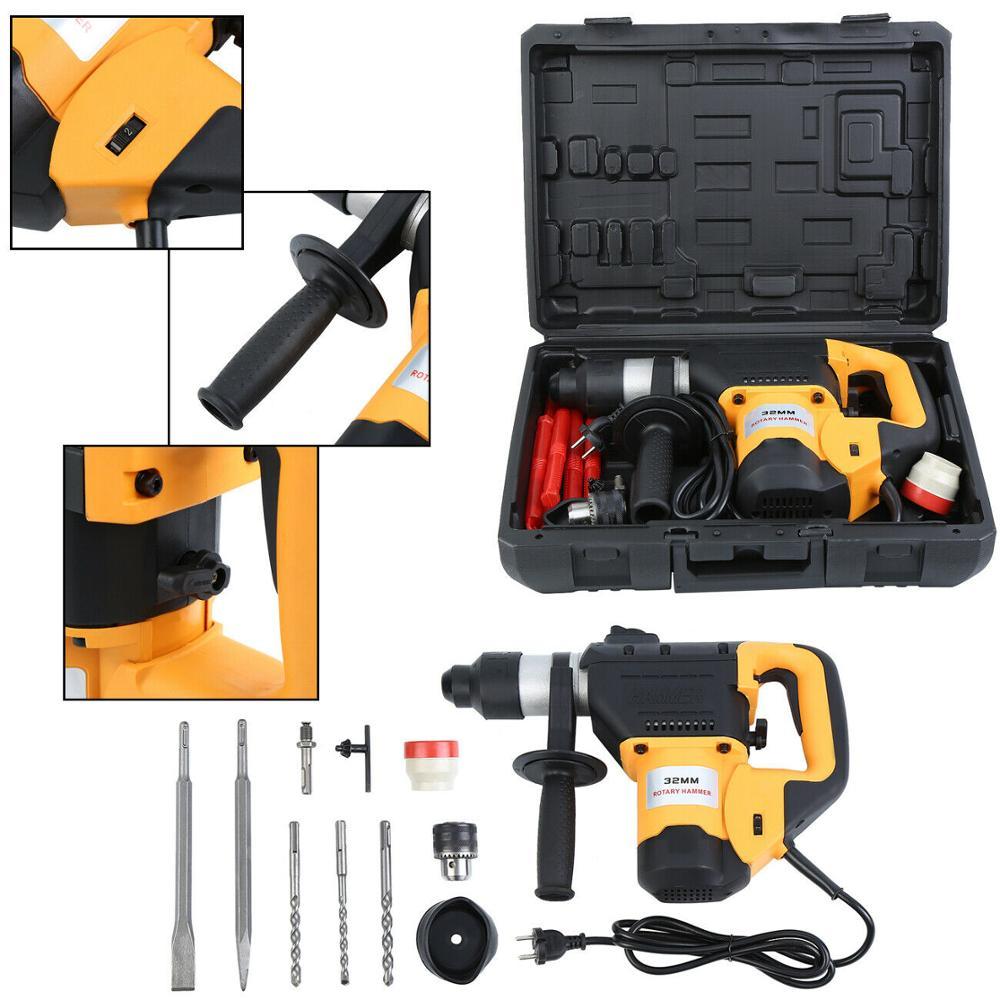 Ridgeyard 1050W Electric Hammer Drill 3-in-1 Demolition Rotary Jack Hammer W/2 Chisel EU Plug