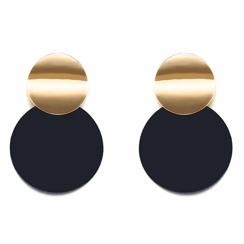Trendy Black Round Metal Earring for Women Gold Shiny Smooth Long Drop Earrings 2019 Fashion Statement Jewelry Pendientes Bijoux