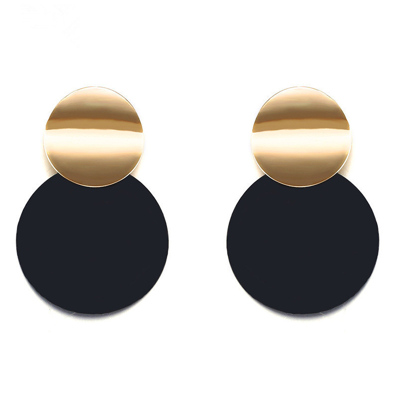 Trendy Black Round Metal Earring for Women Gold Shiny Smooth Long Drop...