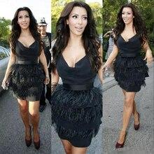 Kim Kardashian/черное страусиное платье с цветными перьями снизу и черным верхом, женские вечерние платья для выпускного вечера, Платья До Колена