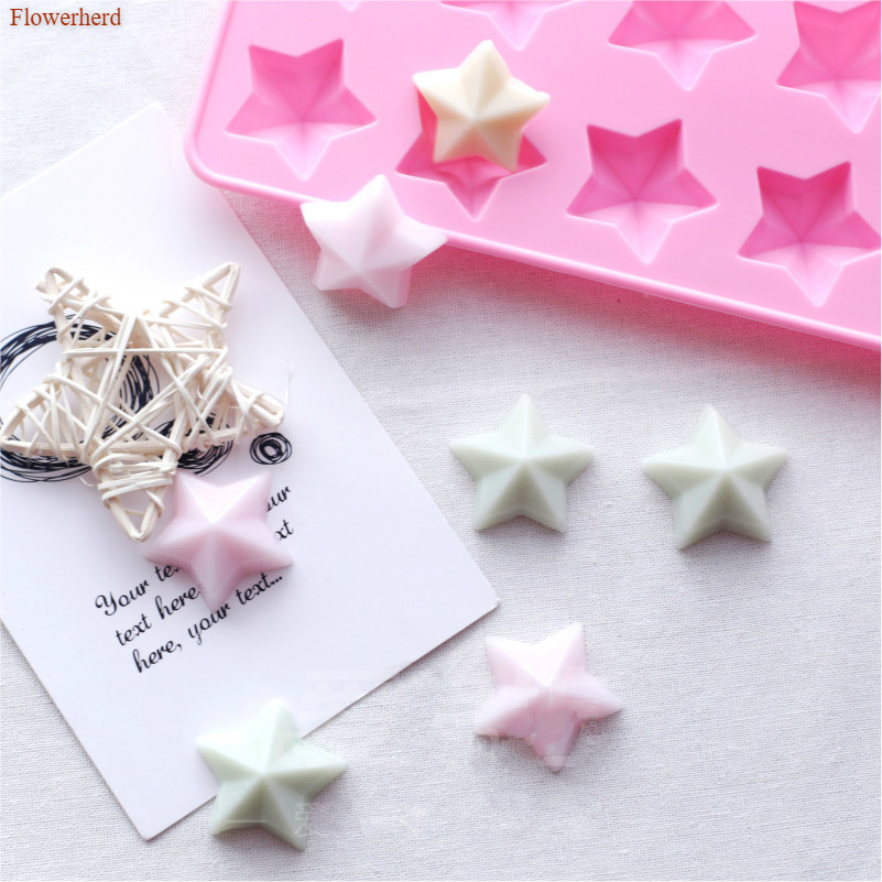 12 Holes Stars 3d Handmade Flexible Silicone Soap Mold DIY Chocolate Biscuit Mold Soap Stome Mold Cake Decors Fondant Tools