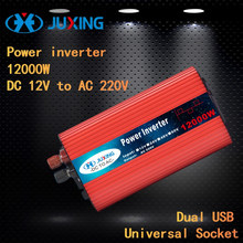 JUXING 12000W Power Inverter DC 12V to AC 220V with Dual USB Ports and Universal Socket  Converter Use for Car, Home, Outdoor