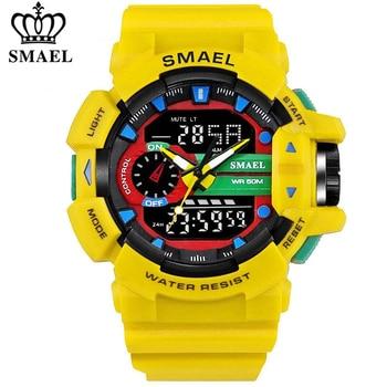 SMAEL Men Sports Watch Military Watches LED Quartz Dual Display Waterproof Outdoor Sport Men's Wristwatches Relogio Masculino