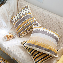 Nordic Morden Simple Pillow Cover Embroidery Stripe Art Square Throw Cushion Cover Home Sofa Bed Soft Decoration Pillowcase цены