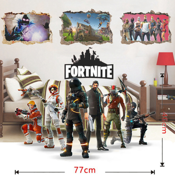 Cartoon 3D Fortnite Kids Removable Wall Stickers Decals Nursery Home Decor Vinyl Mural for Boys Bedroom Living Room Mural Art 3d effect disney cars lightning mcqueen window wall stickers bedroom home decor cartoon wall decals pvc mural art diy posters