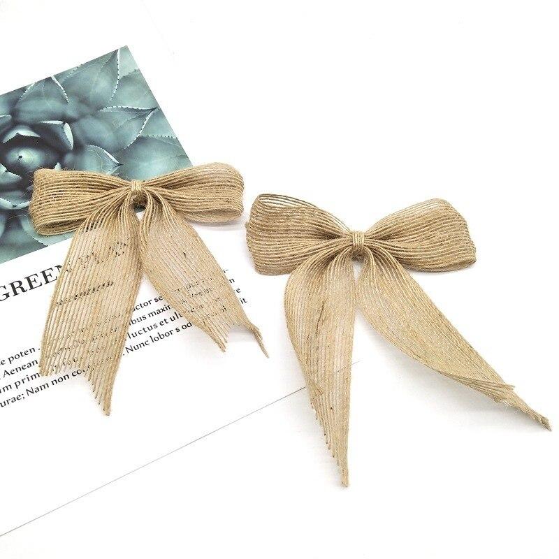 1pcs Natural Burlap Bowknots Jute hessian Bow DIY Craft Accessories Gift Christmas tree Decor Wedding Party Decoration 62544
