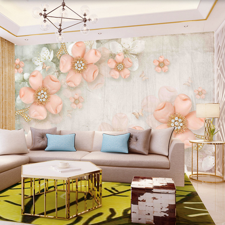 European Style Jewelry 3D Mural Living Room Sofa TV Background Self-Adhesive Wallpaper TV Wall Wallpaper 5D Mural