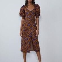 2019 nuevo vestido largo estampado Vintage francés cuello cuadrado manga abotonada botón apertura recta Midi vestido de mujer