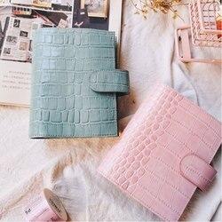 Yiwi Pink Mint A7 Pokemon piel de cocodrilo Carpeta de hojas sueltas de cuero genuino planificador cuaderno de bolsillo