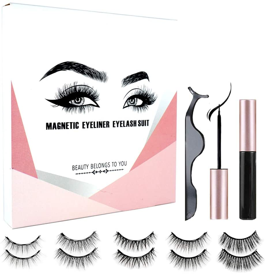 3/4/5 Pairs Magnetic Eyelashes Set Magnetic Eyeliner Lashes Curler 5 Magnet Super Natural Eyelashes Maquiagem