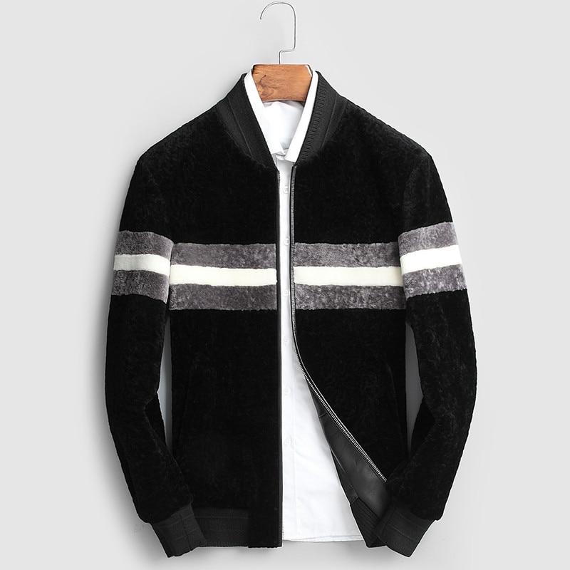 Manteau de fourrure véritable hommes mouton cisaillement manteau d'hiver hommes manteau de laine veste de Baseball coréen pour hommes vêtements 2019 Casaco 17094 YY1129