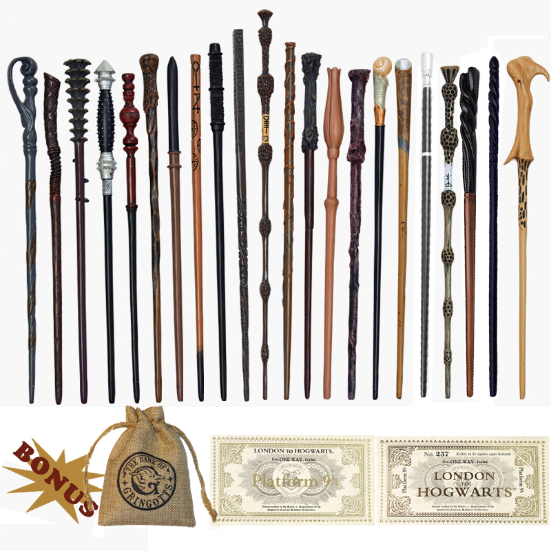 27 Kinds of Metal Core Potters Magic Wands Dumbledore Ron Voldemort Hermione Magical Wand Harried Tickets and Bag as Gift no Box