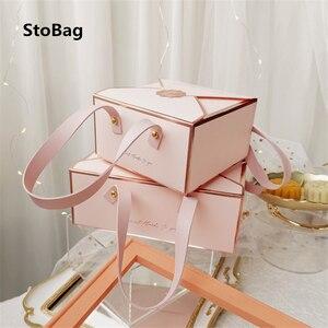 StoBag 5 шт. бронзового цвета переносной бумажная коробка кожа Портативный веревка шоколадные конфеты упаковывая на день рождения вечерние по...