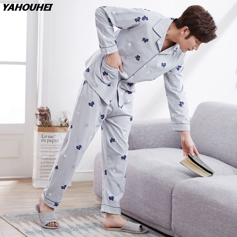 100% Cotton Cardigan Pajama Sets For Men 2019 Autumn Winter Long Sleeve Print Pyjama Sleepwear Male Lounge Homewear Home Clothes