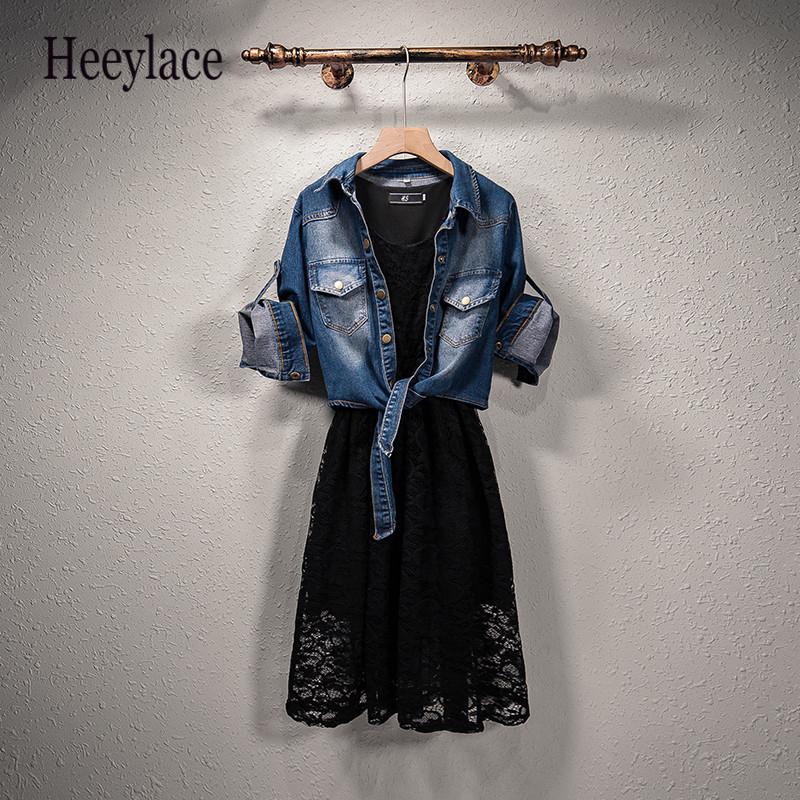 Plus Size Two-piece Set Women Autumn 2019 Female Dress Fat Sister Sleeveless Lace Mesh Dress+Denim Jacket Highstreet Suits 5XL