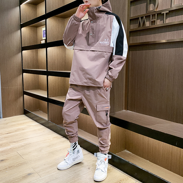 2021 Workwear jacket men's Hooded Jacket+Pants 2PC Sets  baseball  loose Pullover coat & Long Pants Mens Clothing 2