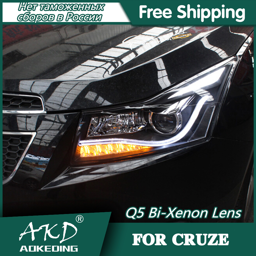AKD Car Styling Head Lamp For Chevrolet Cruze Headlights 2009-2015 LED Headlight DRL Q5 Bi Xenon Lens High Low Beam Parking