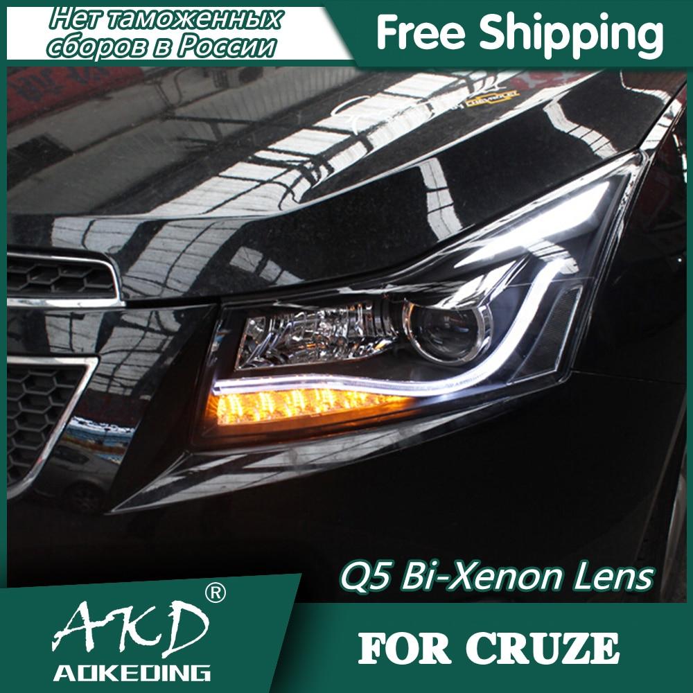 AKD Car Styling Head Lamp For Chevrolet Cruze Headlights 2009-2015 LED Headlight DRL Q5 Bi Xenon Lens High Low Beam Parking