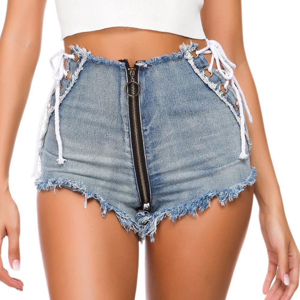 TASTIEN Highwaisted Mini Jeans Shorts Women Hollow out Sexy Booty Blue Denim High Waist Clubwears
