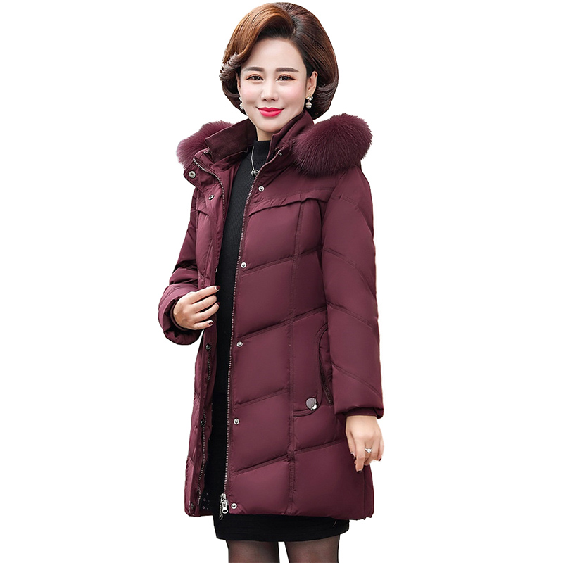 2019 New Winter   Down   Jacket Middle aged Female Real Fur collar Hooded Parkas Women Plus size XL-6XLWhite duck   down     Coats   G628