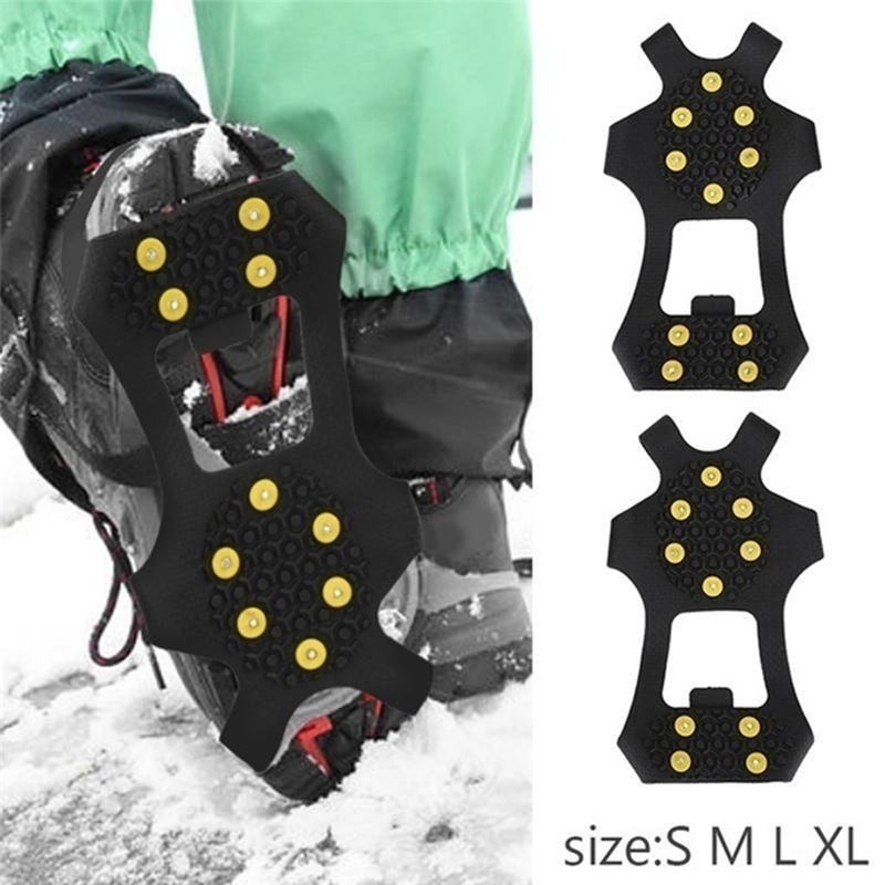 1 Pair 10 Studs Anti-skid Snow Ice Climbing Shoe Spikes Grips S M L  XL XXL Crampons Cleats Overshoes No Slip Snow Shoe Spikes