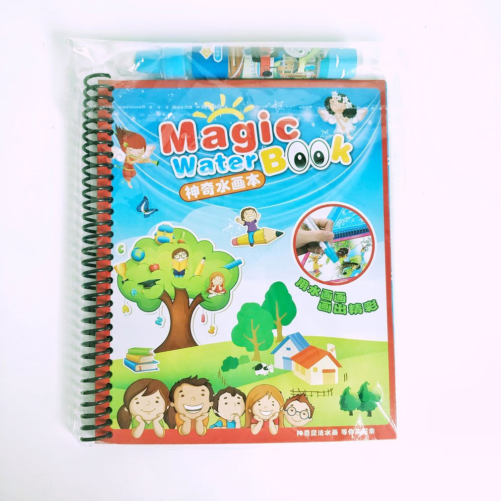Multi Color Kids Baby magic Write Draw Paint Water Drawing Mat Magic Doodle book With Magic Add Water Pen Brushes Fun Toy Gift