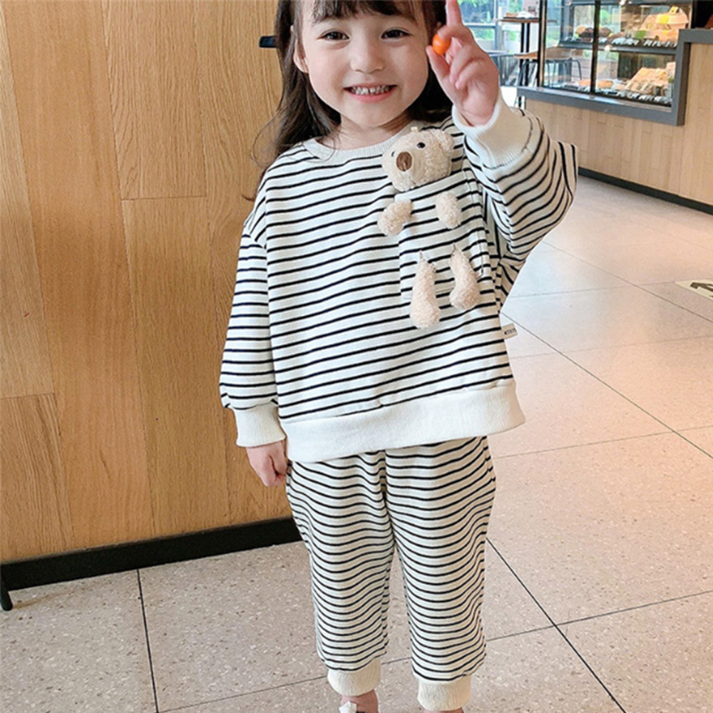 Mudkingdom Winter Autumn Girl Clothes Set  Striped Outfits with Bear Plush Toy Casual Kid Clothes 4