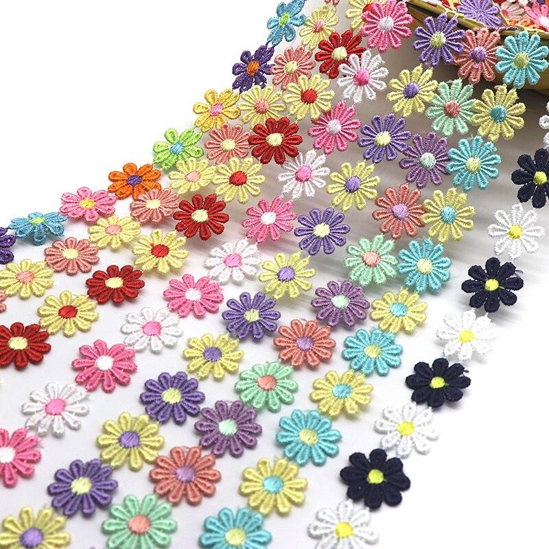 K15314 renkli papatya çiçek süslemeli dantel örgü düğün işlemeli Diy el yapımı Patchwork şerit dikiş malzemeleri el sanatları